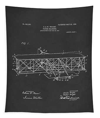 Wright Brothers Flying Machine 1906 Patent Art Black Tapestry