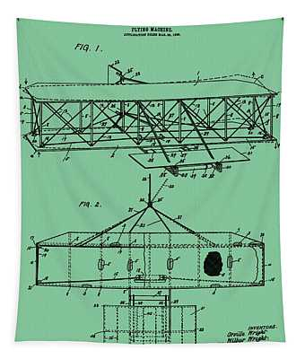 Wright Brothers Patent Green Tapestry