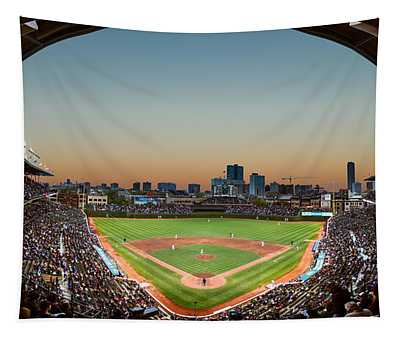 Wrigley Field Night Game Chicago Tapestry