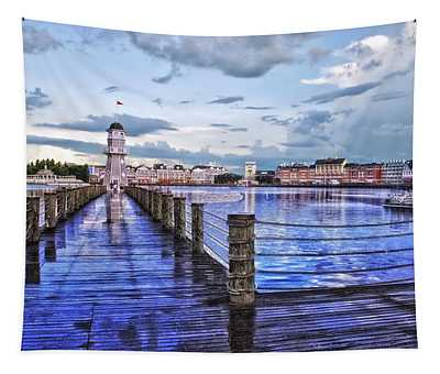 Yacht And Beach Club Lighthouse Tapestry