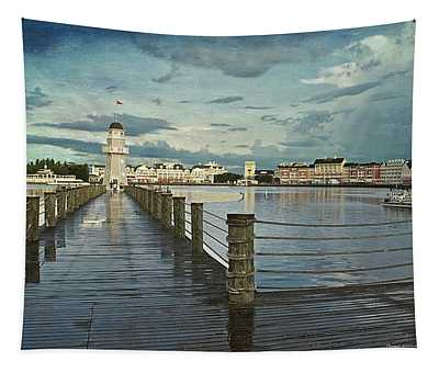 Yacht And Beach Lighthouse Disney World Textured Sky Tapestry