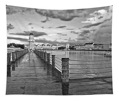 Yacht And Beach Lighthouse In Black And White Walt Disney World Tapestry