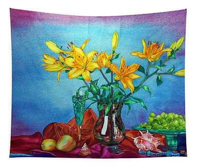 Yellow Lily In A Vase Tapestry