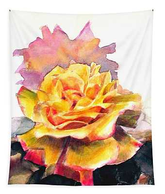 Yellow Rose Fringed In Red Tapestry