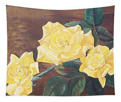 Yellow Carpet Rose Tapestry