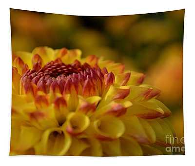 Yellow Dahlia Red Tips Tapestry