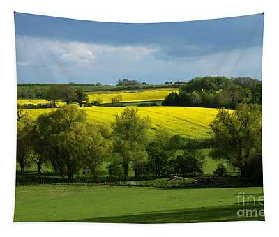 Yellow Fields In The Sun Tapestry