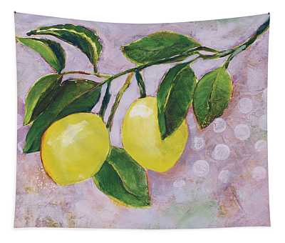 Yellow Lemons On Purple Orchid Tapestry