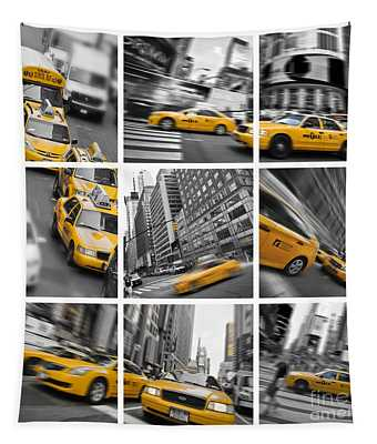 Yellow Taxis Collage Tapestry