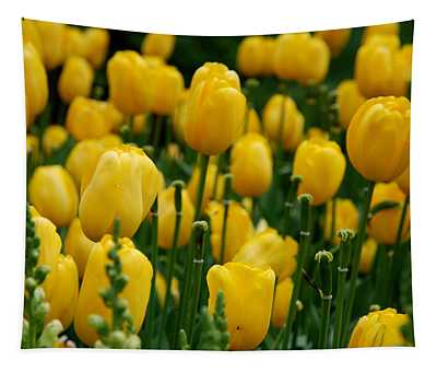 Yellow Tulip Sea Tapestry