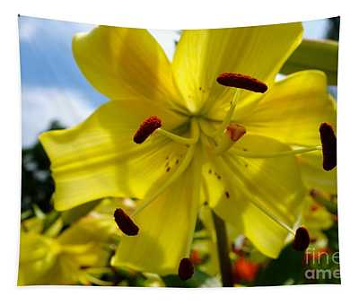 Yellow Whopper Lily 2 Tapestry