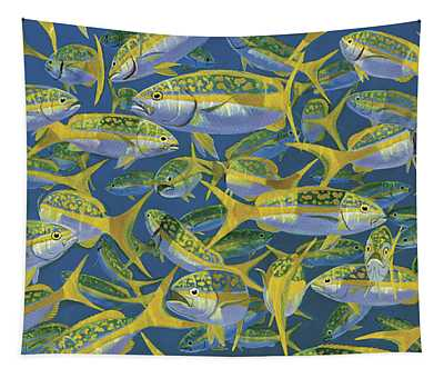 Yellowtail Frenzy In0023 Tapestry