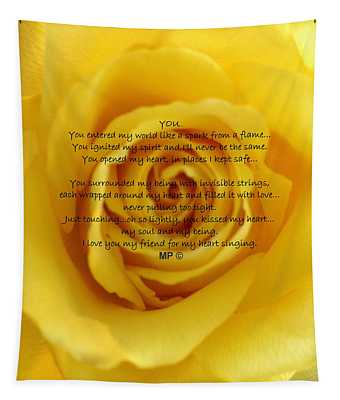 You Poem On Yellow Rose Tapestry