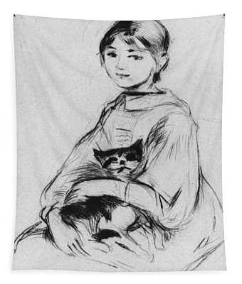 Young Girl With Cat Tapestry