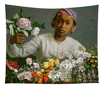 Young Woman With Peonies Tapestry
