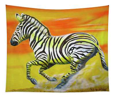 Zebra Kicking Up Dust Tapestry
