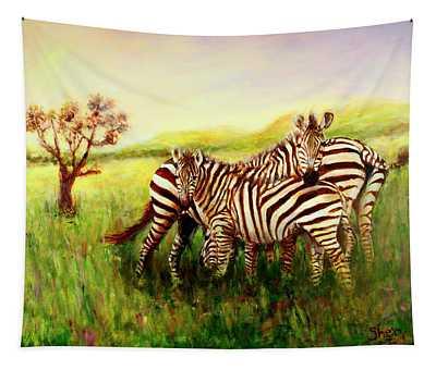 Zebras At Ngorongoro Crater Tapestry