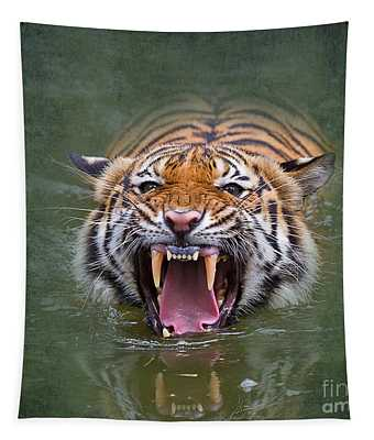 Angry Tiger Tapestry