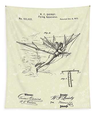 Flying Apparatus 1872 Patent Art Tapestry