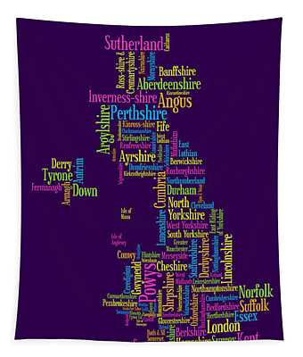 Great Britain Uk County Text Map Tapestry