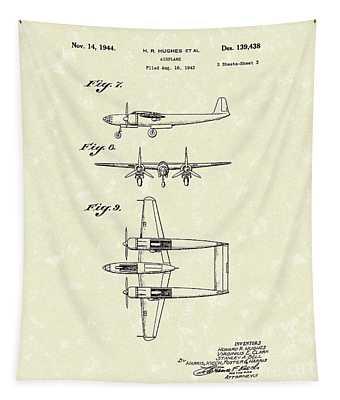 Howard Hughes Airplane 1944 Patent Art   Tapestry