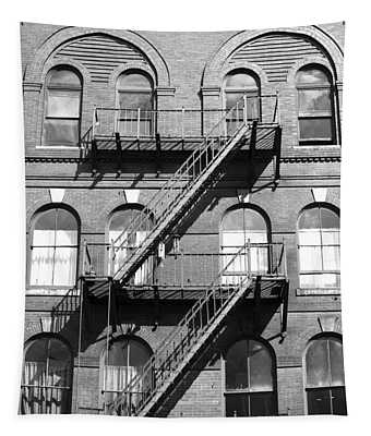 Windows And Fire Escapes Bangor Maine Architecture Tapestry by John Van Decker