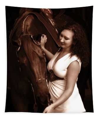 Woman And Horse Tapestry