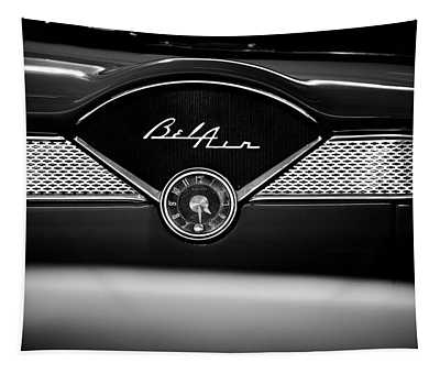 1955 Chevy Bel Air Glow Compartment In Black And White Tapestry