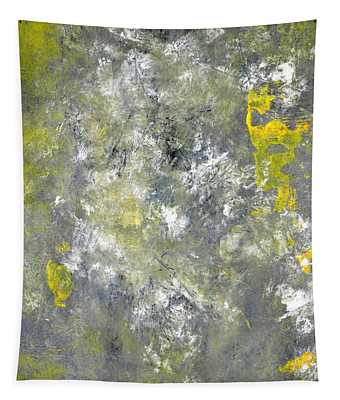 Splish Splash - Grey And Yellow Abstract Art Painting Tapestry