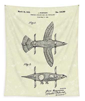 Airplane Bird Body Design 1943 Patent Art Tapestry
