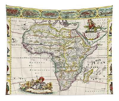 Antique Map Of Africa Tapestry