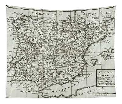 Antique Map Of Spain And Portugal Tapestry