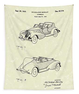 Automobile Mccelland Barclay 1932 Patent Art Tapestry