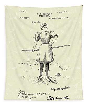 Bathing Suit 1898 Patent Art Tapestry