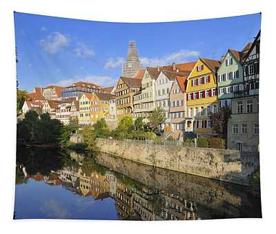 Beautiful German Town Tuebingen - Neckar Waterfront Tapestry