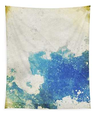 Blue Sky And Cloud On Old Grunge Paper Tapestry