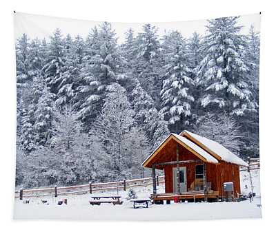 Cabin In The Snow Tapestry