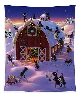Christmas Decorator Ants Tapestry