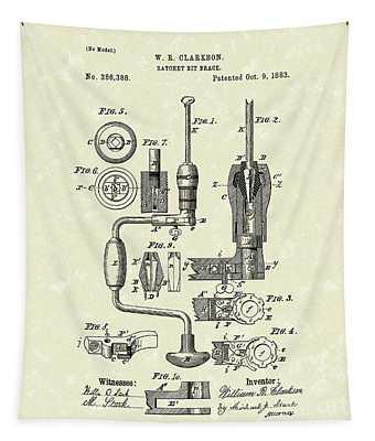 Clarkson Bit Brace 1883 Patent Art  Tapestry by Prior Art Design