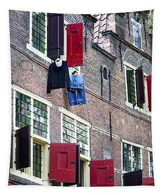 Clothes Hanging From A Window In Kattengat Tapestry