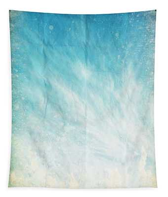 Cloud And Blue Sky On Old Grunge Paper Tapestry