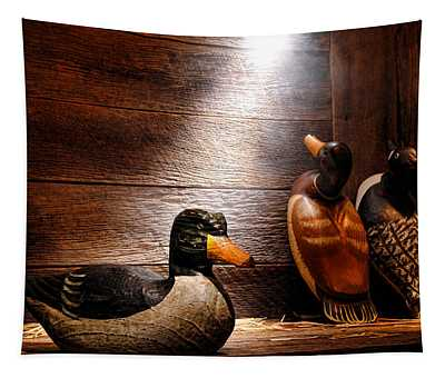 Decoys In Old Hunting Cabin Tapestry
