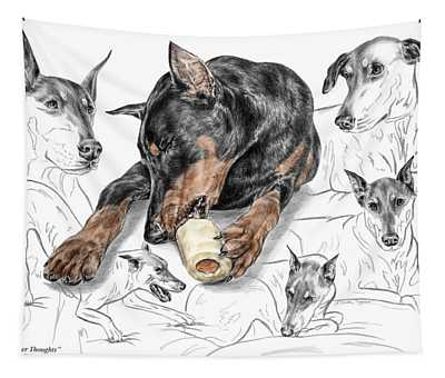 Dober-thoughts - Doberman Pinscher Montage Print Color Tinted Tapestry