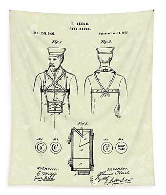 Fare Boxes  1875 Patent Art Tapestry