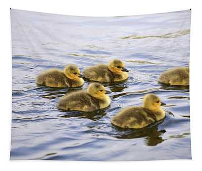 Five Goslings In The Water Tapestry