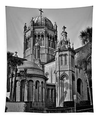 Flagler Memorial Presbyterian Church 3 - Bw Tapestry