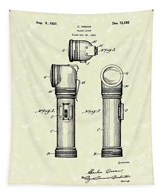 Flash Light 1927 Patent Art  Tapestry