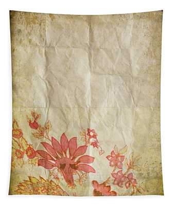 Flower Pattern On Old Paper Tapestry