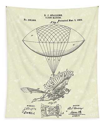 Flying Machine Spalding 1889 Patent Art Tapestry