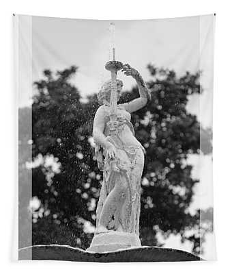 Forsyth Fountain - Black And White 2 Tapestry